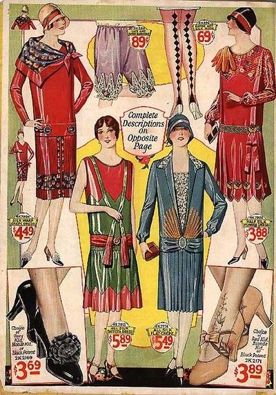 Bernard Hewitt catalogue cover showing 1920s dresses, bloomers and shoes (1928)