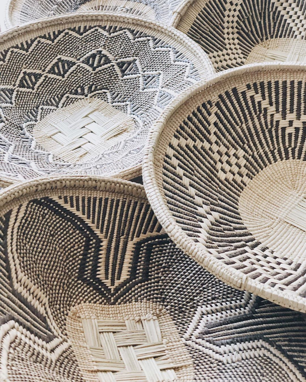 Each Woven Palm Basket is handmade in Zimbabwe, Southern
