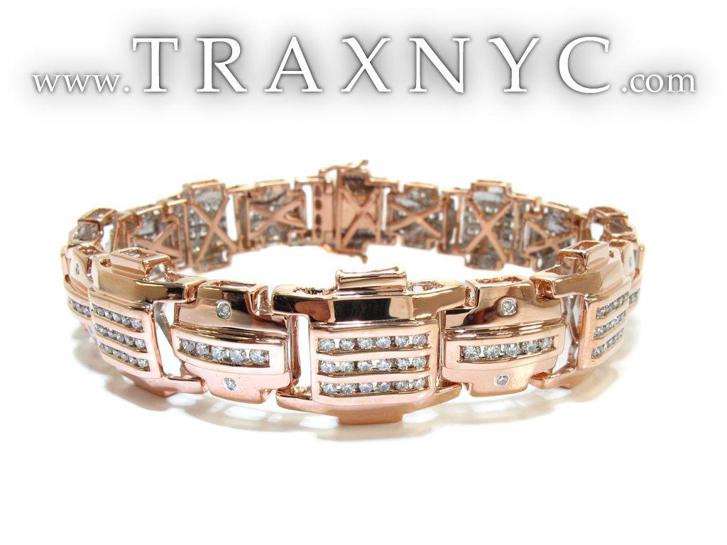 MEN Diamond Bracelet | Rose Gold Round Cut Bezel Channel Bracelet ...