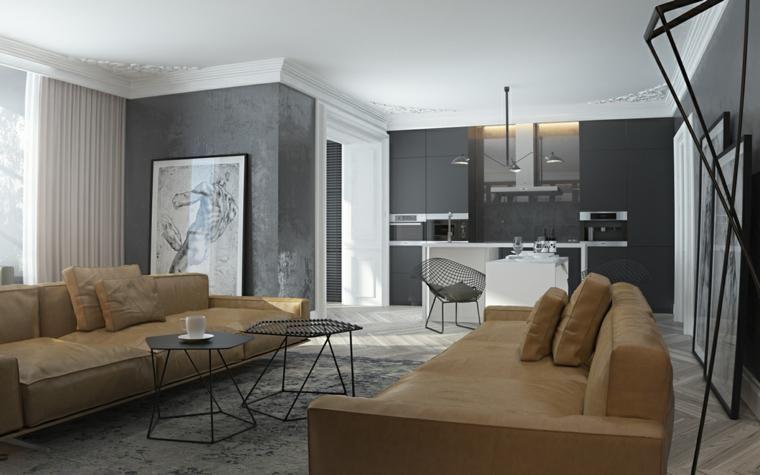 Dunkle Innenarchitektur - zwei Modelle moderner Häuser