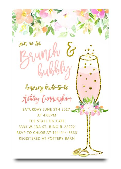 Brunch And Bubbly Watercolor Flower Bridal Shower Invitation Water Cheap Bridal Shower Invitations Bridal Brunch Invitations Bridal Shower Brunch Invitations