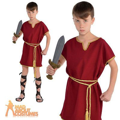 1d0883c7777 Details about Child Roman Tunic Costume Boys Toga Warrior Burgundy ...