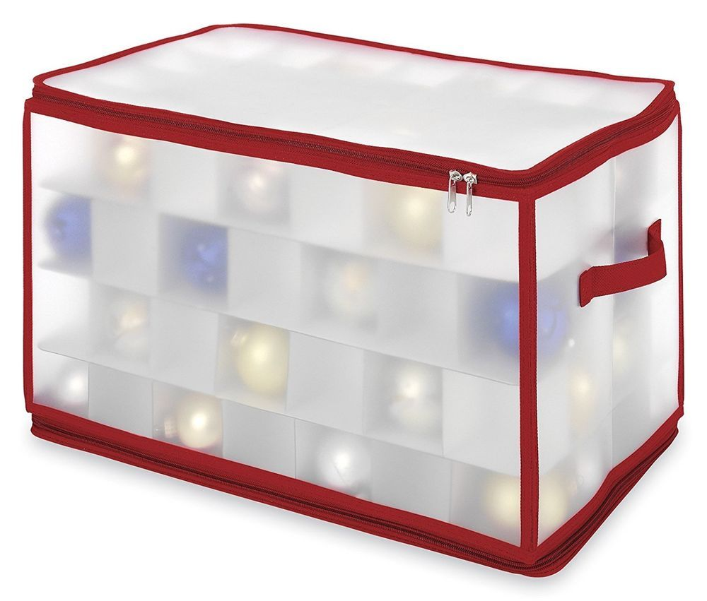 Ornament Storage Box Chest with Zipper Large Cube Case for Christmas ...