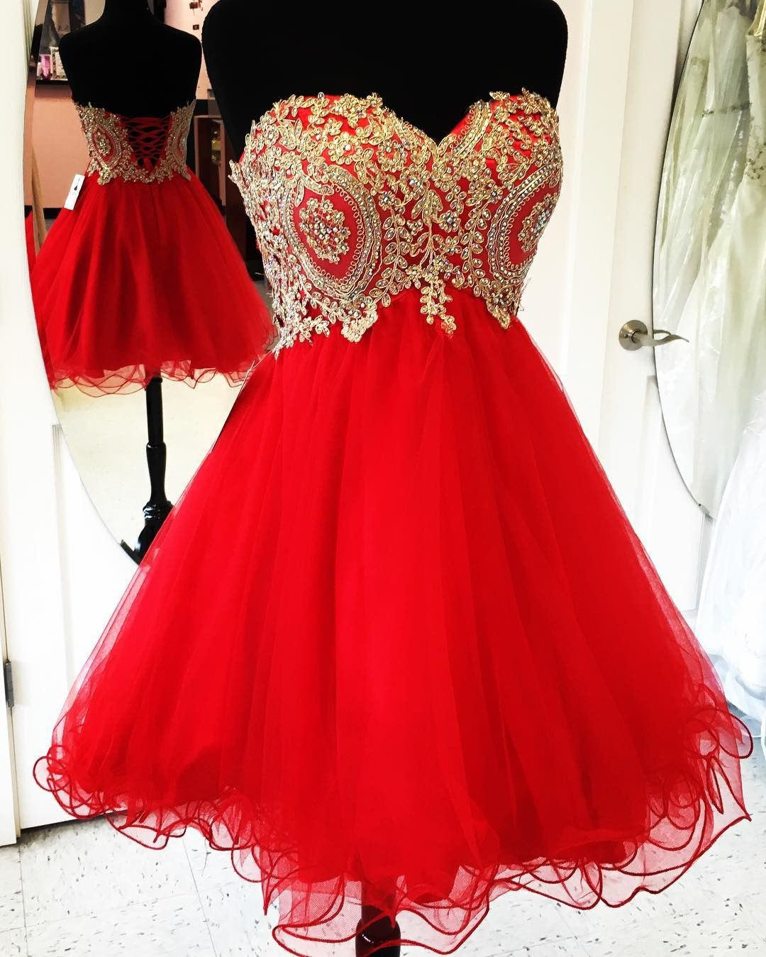 Gold Lace Appliques Short Red Homecoming Dresses Cocktail Party