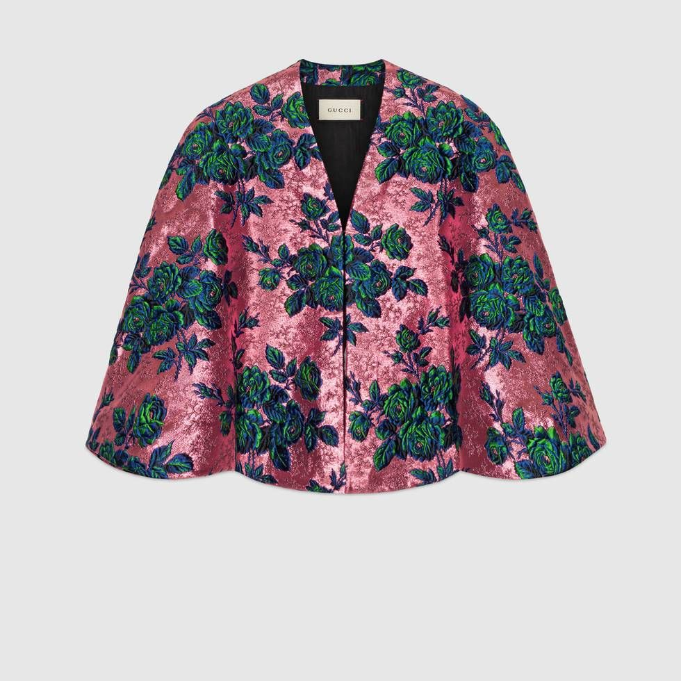 68bbcb1cd Shop the Floral brocade cape by Gucci. Set in the evocative setting of the  Roman necropolis Alyscamps, the Cruise 2019 presents an eclectic mix of ...