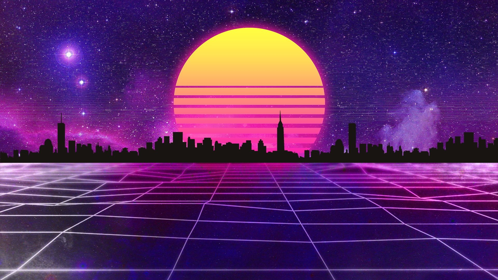 The Sun Music The City Stars Space Background 80s Neon 80 S Synth Retrowave Synthwave New Retro Wave Futuresynt Retro Waves Synthwave Neon Wallpaper