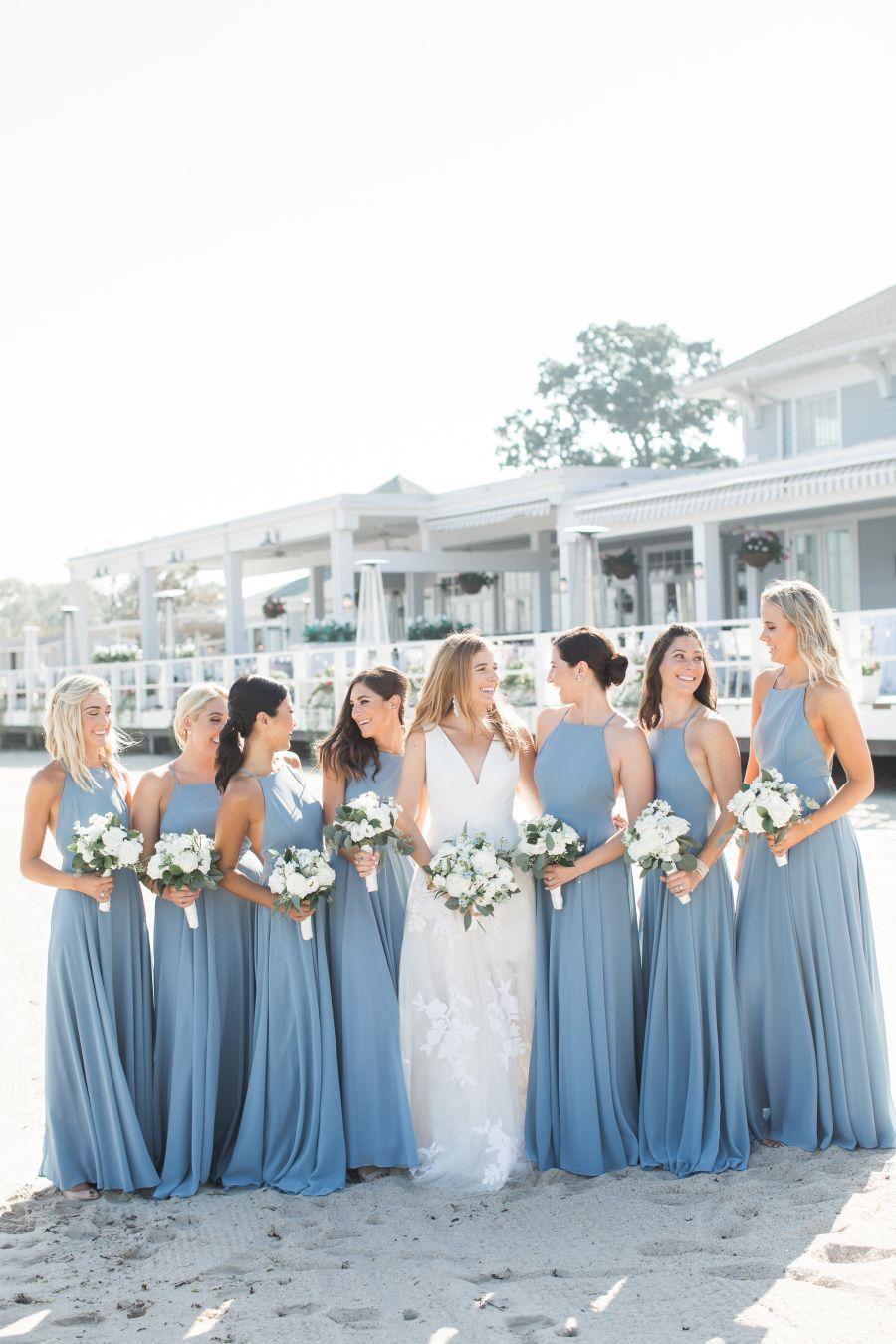 Beautiful Blues Stunning Watercolors Makes This Summer Wedding Shine Wedding Bridesmaid Dresses Wedding Bridesmaids Blue Bridesmaid Dresses