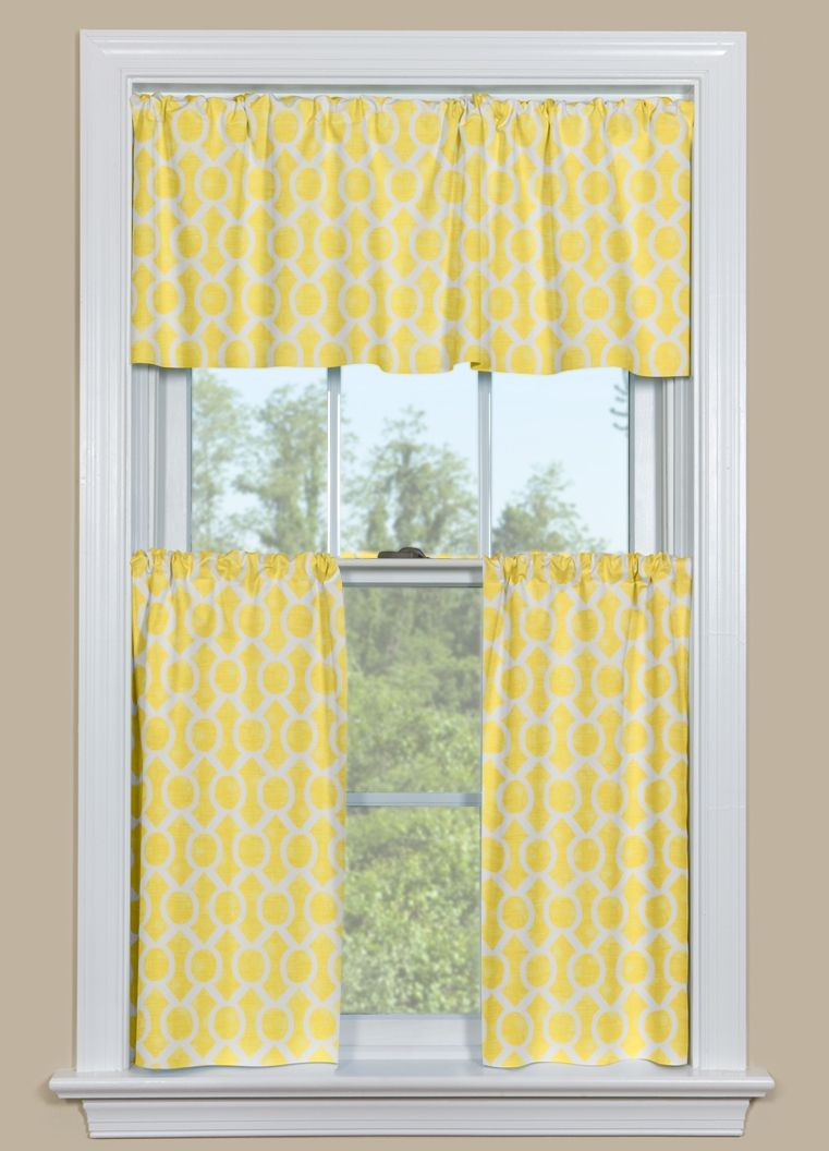 Kitchen curtain valance and tier pair with geometric pattern in yellow and white