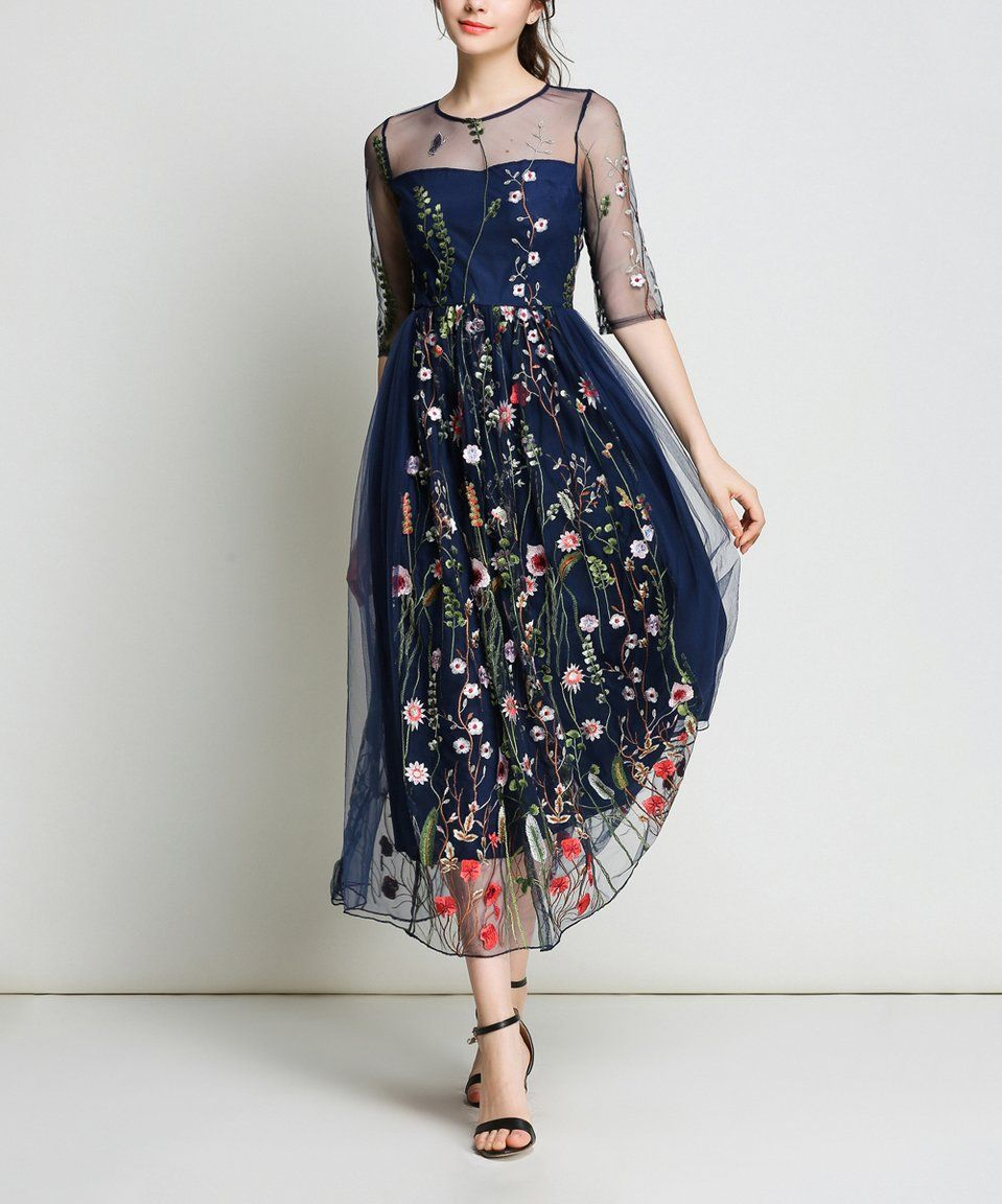 b93f04b812290 Take a look at this Navy Floral Embroidery Sheer-Overlay Midi Dress today!