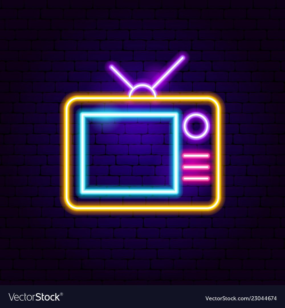 Analog TV Neon Sign. Vector Illustration of Film Promotion