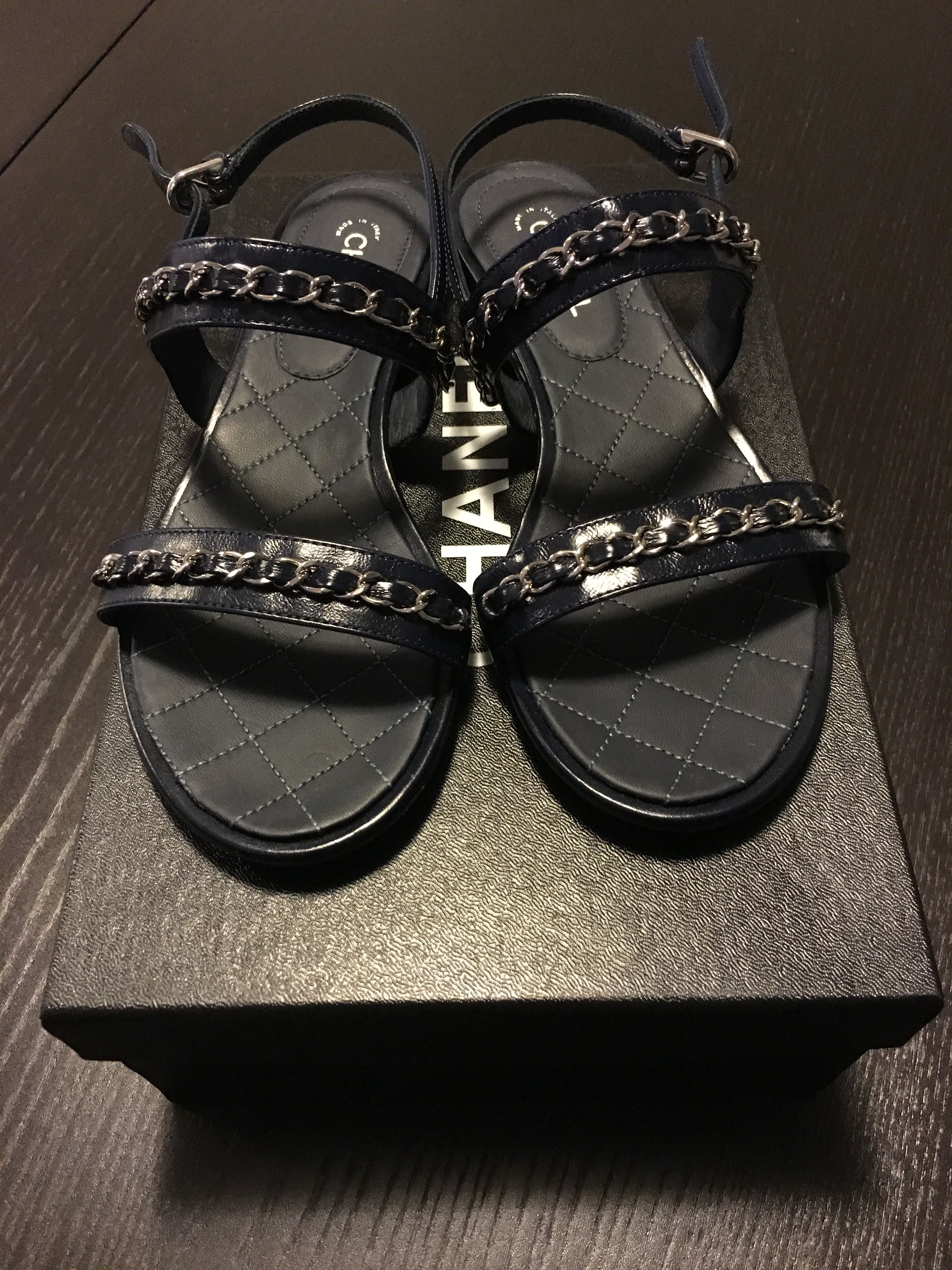 133ba24f01cbc3 Chanel chain sandals in navy and silver hardware. (Spring-Summer 2016)