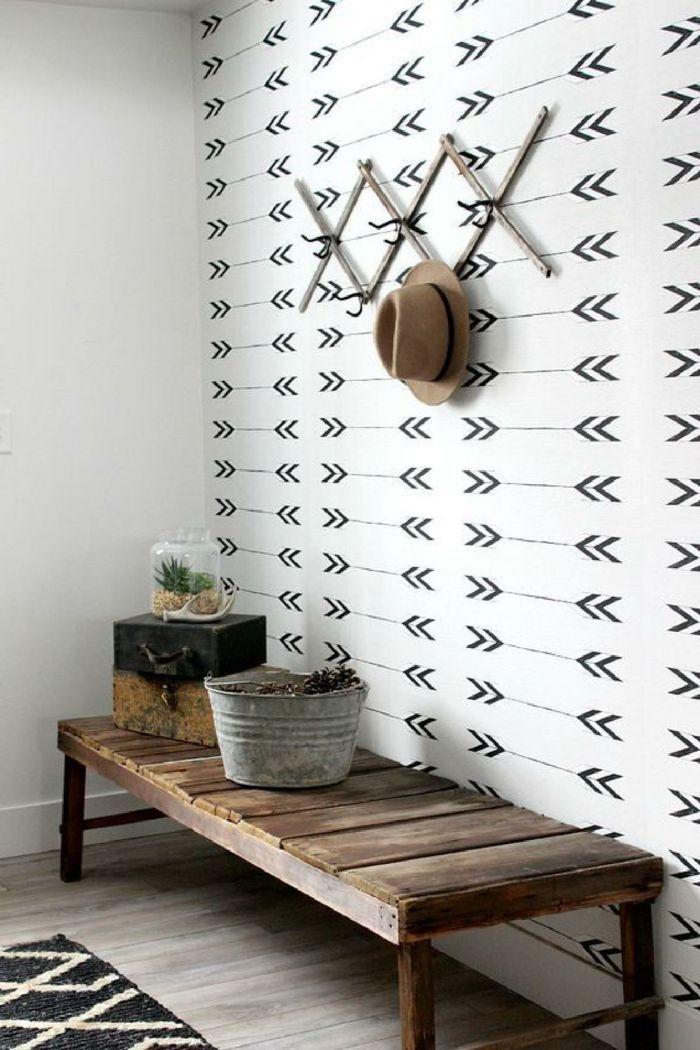 1001 ideas para decorar las recibidores peque os entradas pinterest bancos recibidor - Papel pintado para recibidores ...