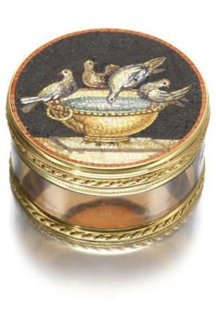 A Louis XV gold, rock crystal and micromosaic mounted bonbonnière by Joseph Dumont, Paris 1776