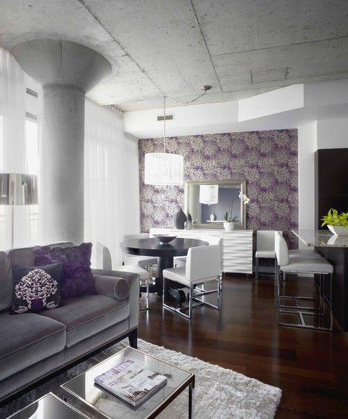 Purple Grey White Living Room Color Scheme