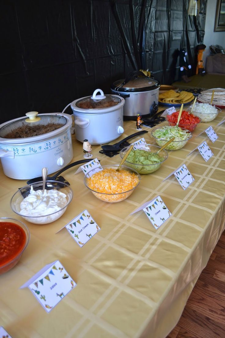 Diy taco bar party table tents free printables taco for Food bar party ideas