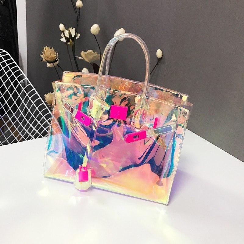 Women Transparent Shoulder Bag Summer Clear Handbag Beach Jelly Pvc Tote Purse