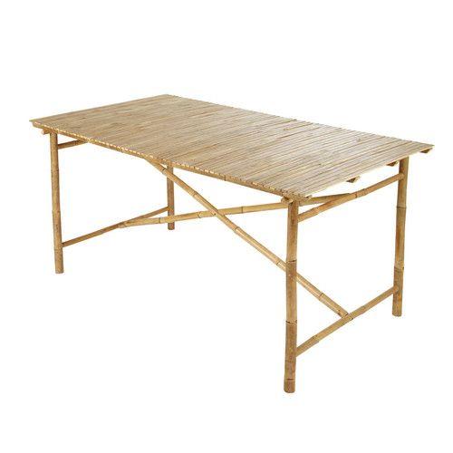 Table de jardin en bambou L 160 cm | extérieur | Outdoor tables ...