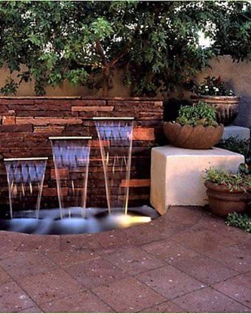 Triple Backyard Waterfall Ideas : Graceful Backyard