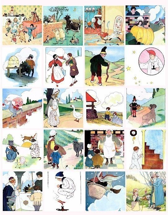 Mother Goose Nursery Rhymes Childrens Book Clip Art 2 Inch Squares Digital Collage Sheet