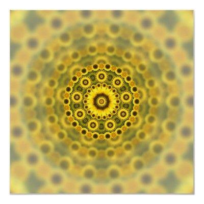 Hippy #Sunflower Fractal #Mandala Pattern #Poster $20.25