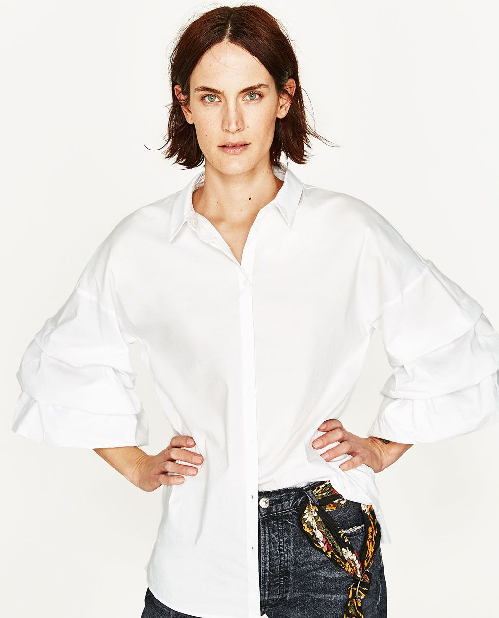 2c5ba9f98a Image 2 of POPLIN SHIRT WITH PLEATED SLEEVES from Zara