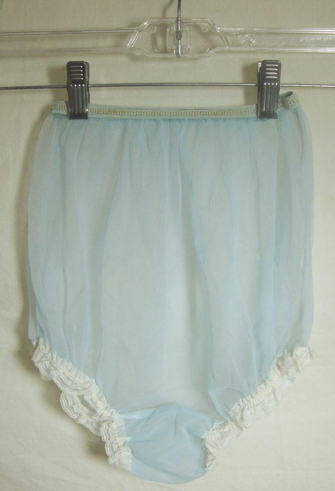 fefd07892 Vintage Light Blue Sheer High Waist Panties Lace Ruffle Sissy Gussett  Granny…