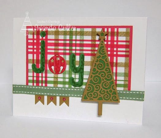diy plaid christmas card with tree and joy word card sketch included