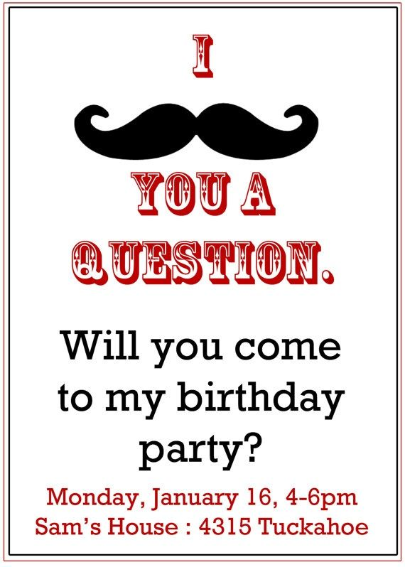 Mustache Party Invitation Boy S