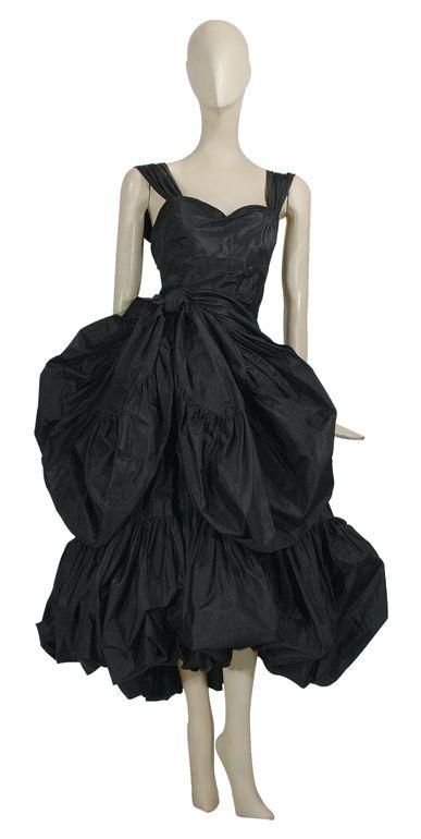 Balenciaga Black Silk Tissue Taffeta Dress French Circa