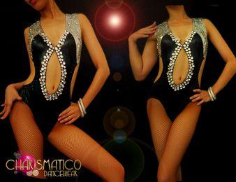 CHARISMATICO Diva's Double Crystal trim embellished shiny Black spandex dance leotard