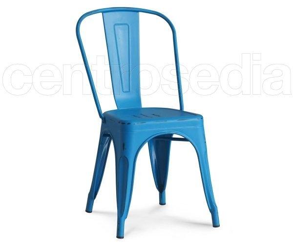 Sedie Blu ~ Sedia in legno blu vintage invecchiato con seduta imbottita arredo