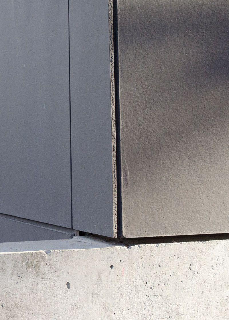 Painted Hardie Panel Corner Detail Over Concrete
