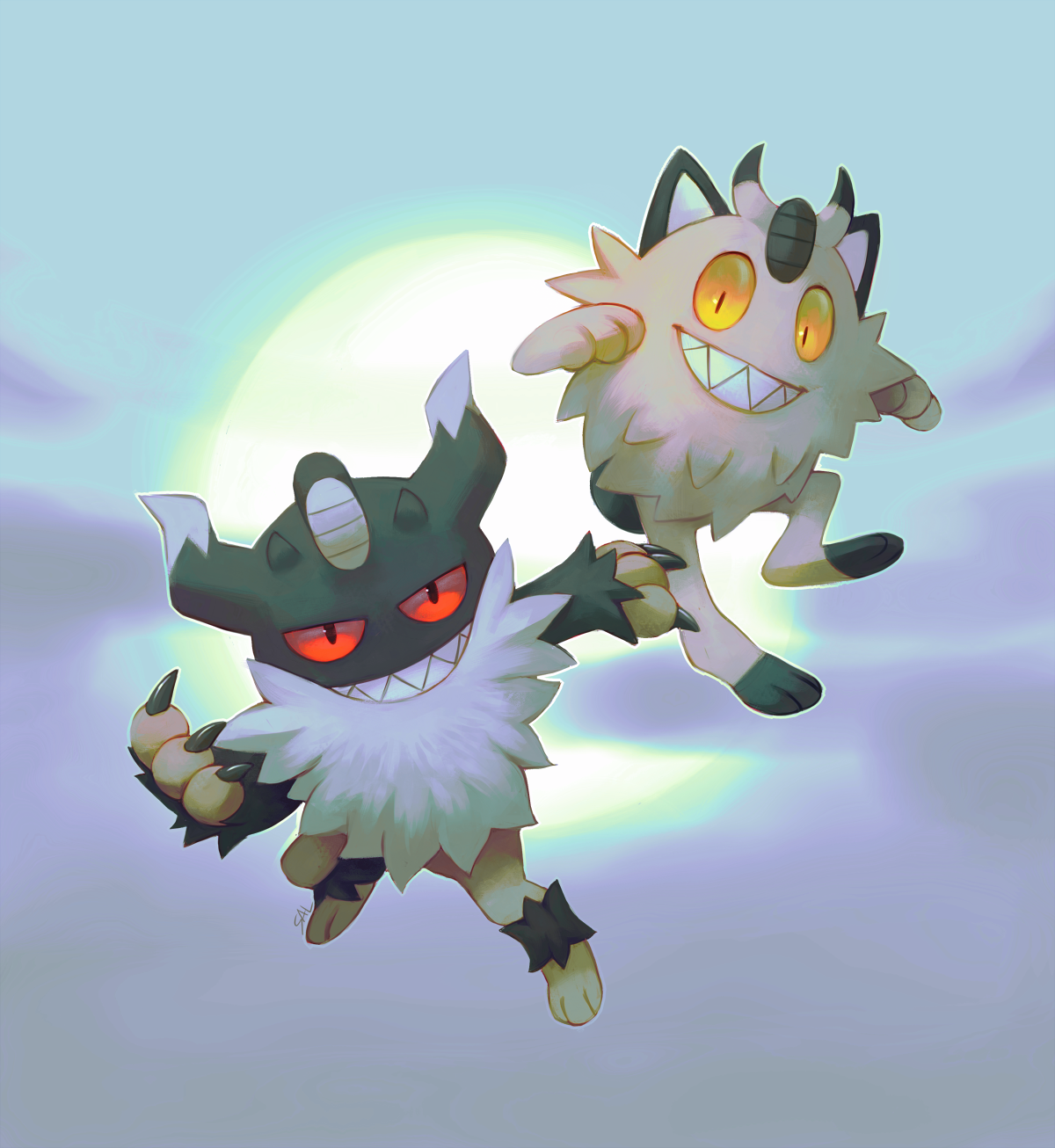 Meowth And Perrserker By Salanchu On Deviantart Pokemon Meowth Persian Pokemon Pokemon Drawings