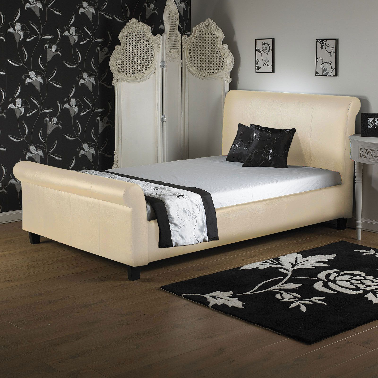 Black Faux Leather Sleigh Bed with Rolled Headboard and