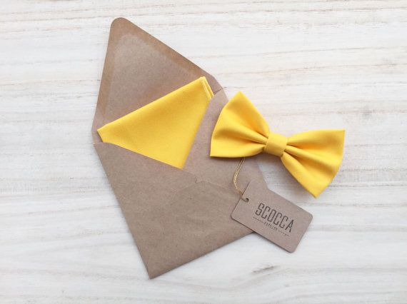 Pocket square and bow tie yellow freesia pocket by ScoccaPapillon