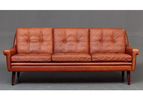 Danish Mid Century Danish Svend Skipper Cognac Sofa Mid Century Danish Vintage Sofa Sofa