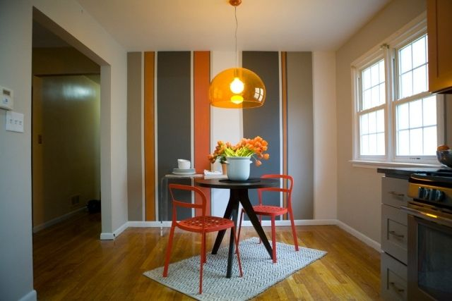 Streifen Wand Streichen Ideen Essbereich Orange Grau