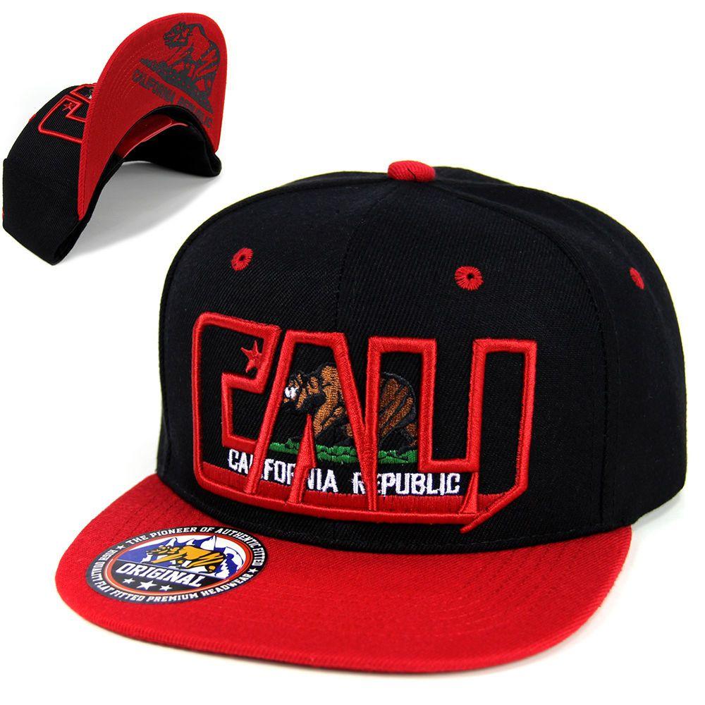 California Republic hat cap CALI Bear Snapback Baseball cap Flat Bill -Black Red   36e07a75d198