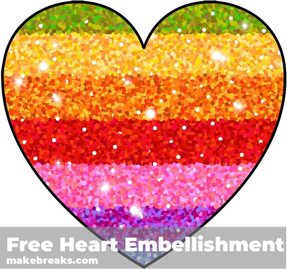 Free Printable Rainbow Glitter Heart Embellishment Glitter