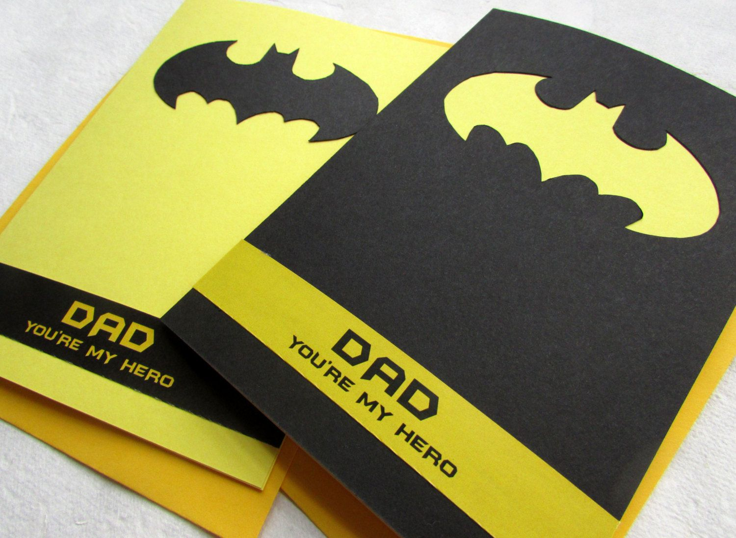 BATMAN Fathers Day Card Dad youre my hero Handmade by – Birthday Card for Dad from Kids