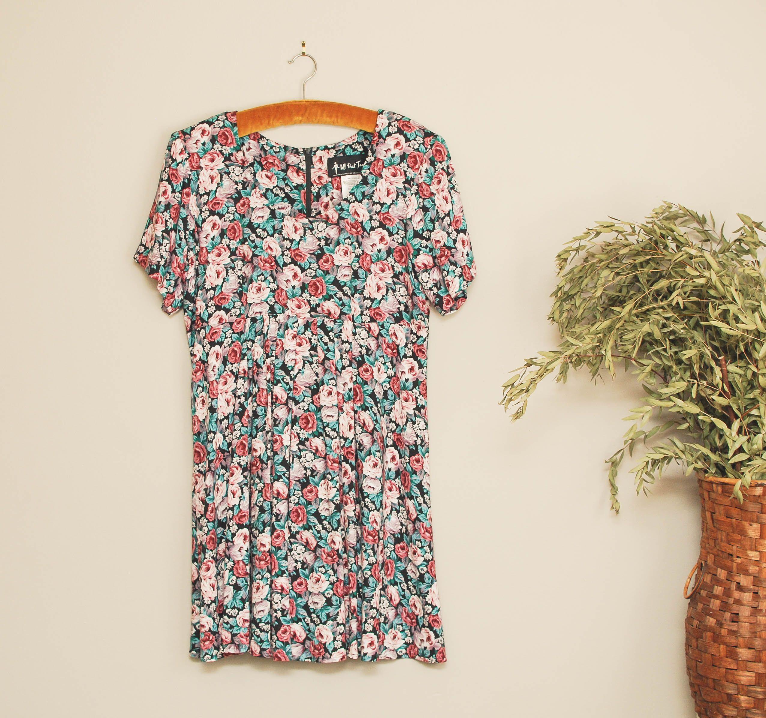 Vintage 90s All That Jazz Babydoll Dress Fl Rose Print Mini Frenchie