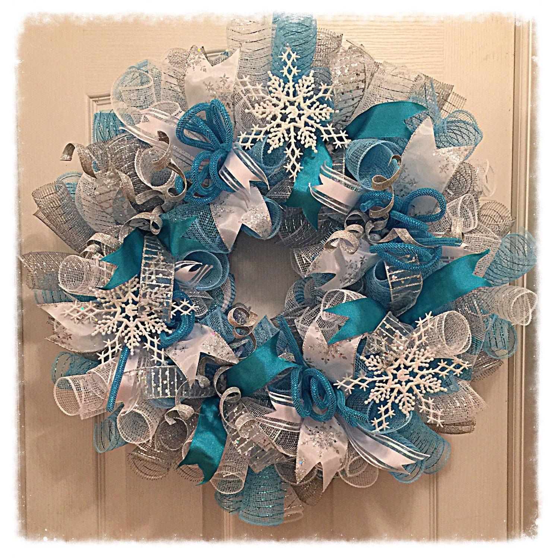 Frozen Snowflake Turquoise and Silver Deco Mesh Wreath Frozen Wreath
