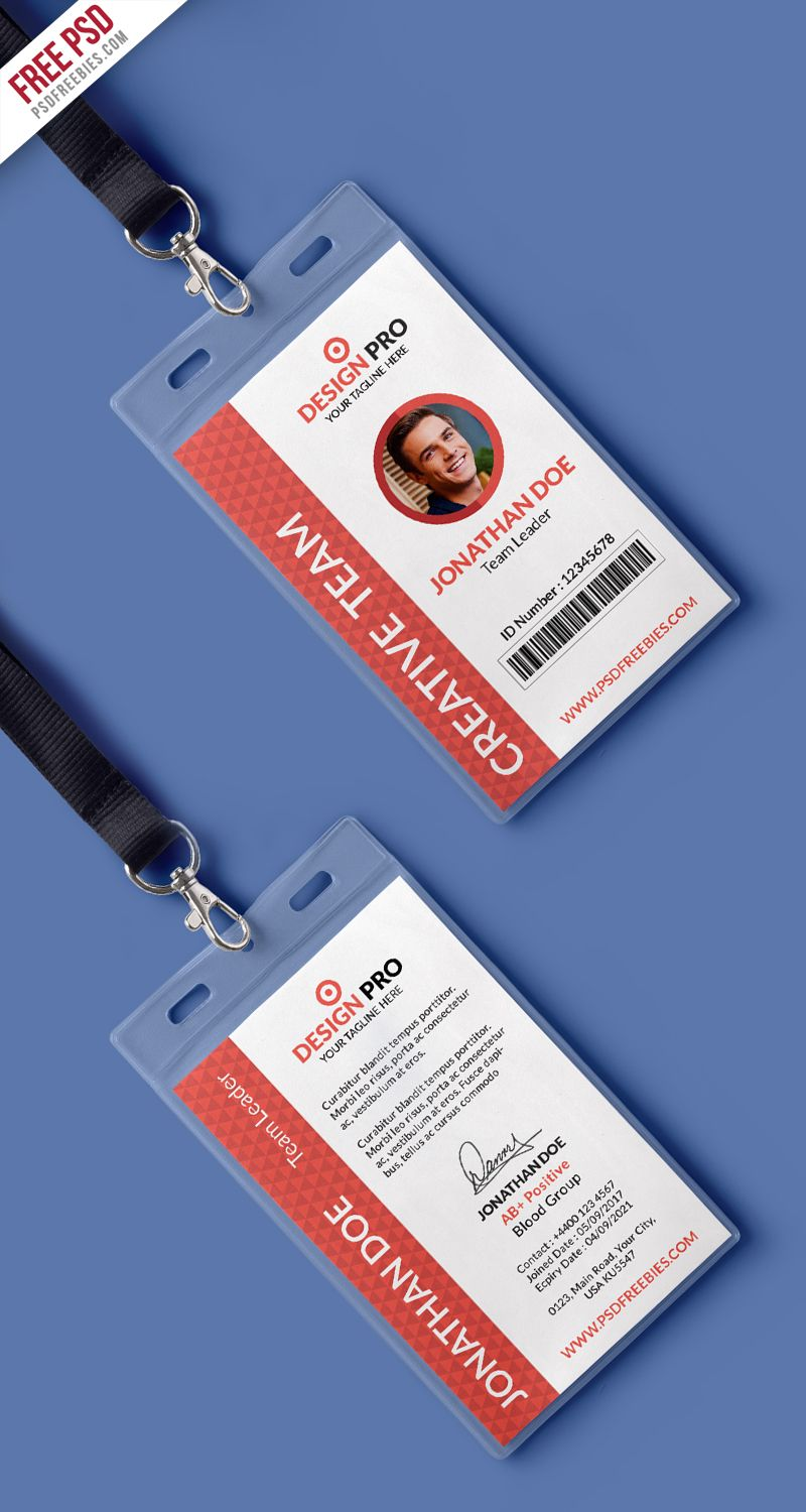 016 Template Ideas Free Psd Office Identity Card Preview Id Templates In 2020 Identity Card Design Id Card Template Employee Id Card