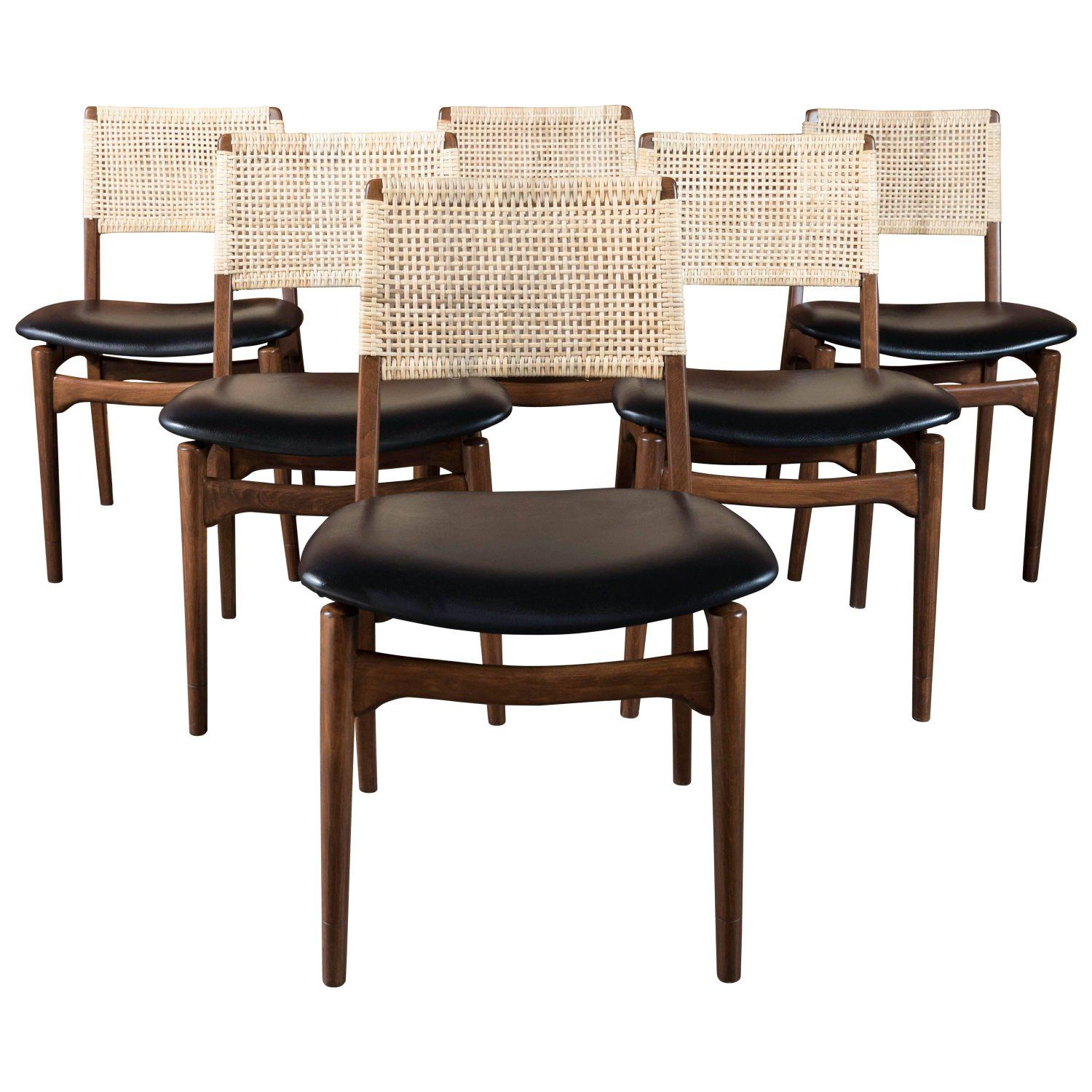 Midcentury Danish Modern Walnut and Cane Dining Chairs Set of Six