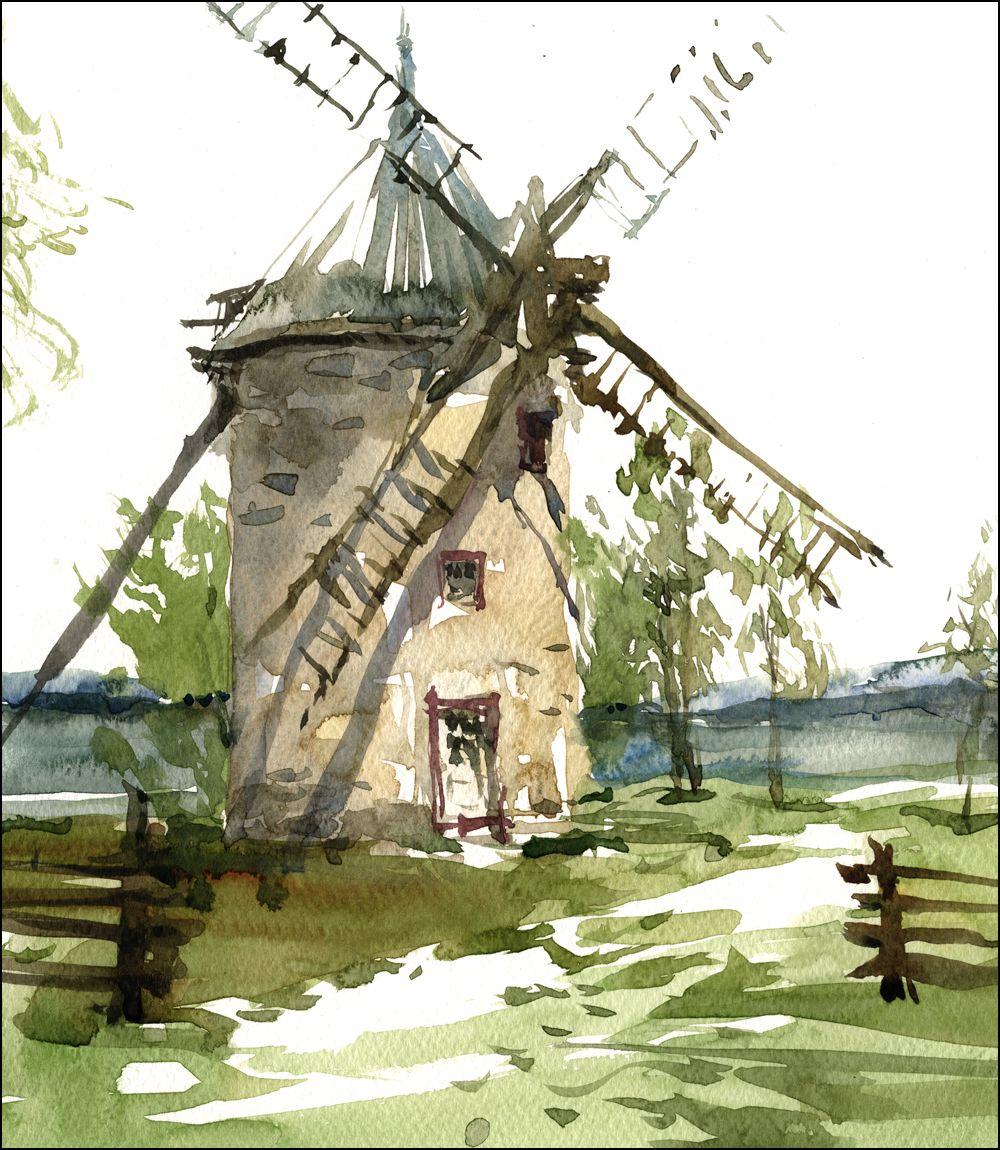Tilting At Windmills Painting Quebec History Paysage De