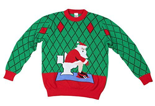 funqi men s toilet santa ugly christmas sweater xx large green