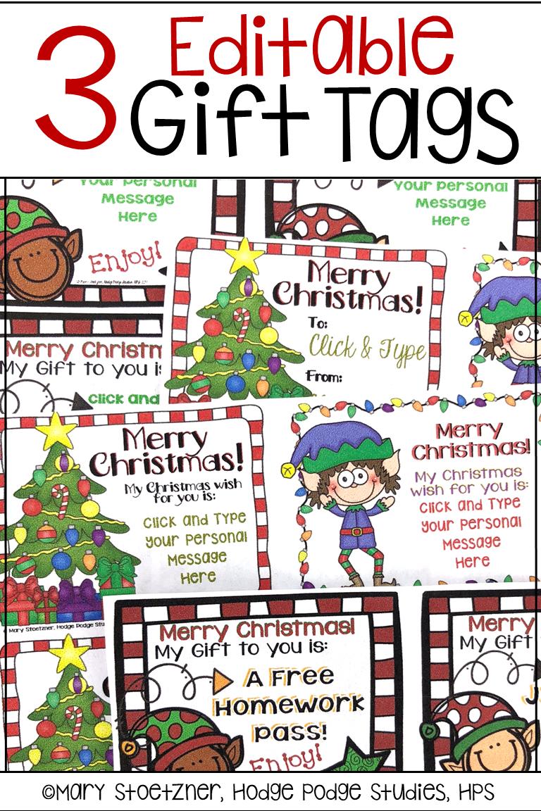 Holiday Christmas Gift Tags Editable Christmas Gift Tags