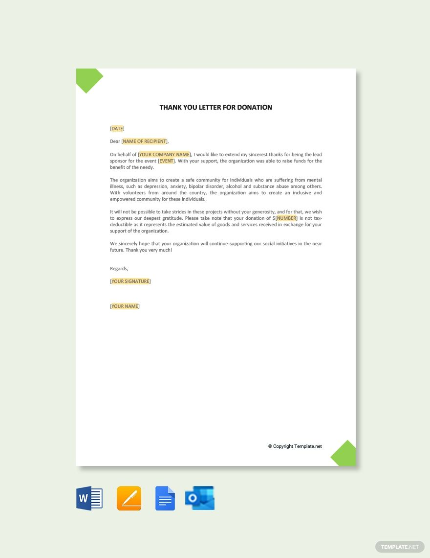 Thank You Letter Template For Sponsorship Donation Free Pdf Word Apple Pages Google Docs Thank You Letter Thank You Letter Template Lettering Thank you template for donations