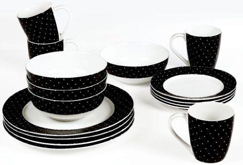 16 Pieces Premier Housewares Damascus Dinner Set Black