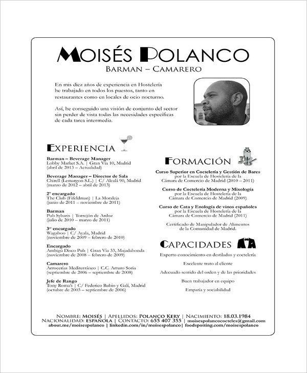 14+ Bartender Resume Templates Free Printable Word  PDF Sample